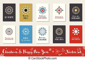 set, vettore, anno, nuovo, natale, felice