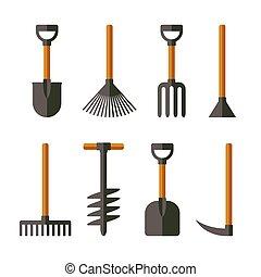set., vettore, attrezzi, giardino