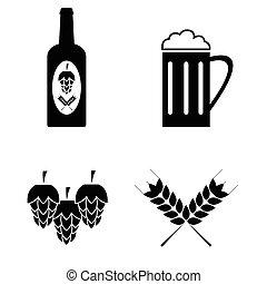 set., vettore, birra, collezione, icone