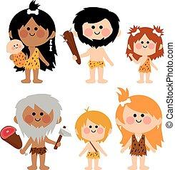 set., vettore, cavemen, illustrazione, persone