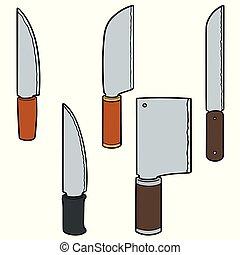 set, vettore, coltelli