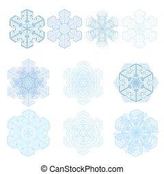 set, vettore, fiocco di neve, inverno
