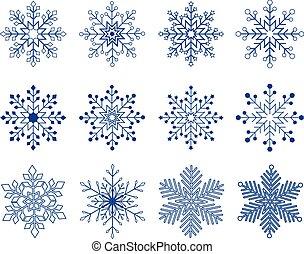 set, vettore, fiocco di neve