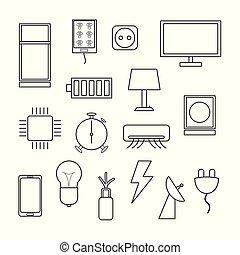 set, vettore, fondo, elettronica, bianco, icona