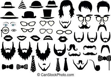 set, vettore, hipster, retro, festa, icona