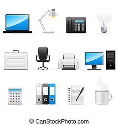 set, vettore, icone affari, ufficio