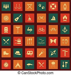 set, vettore, icone, campeggio
