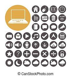 set, vettore, illustrazione computer, icona