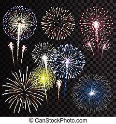 set, vettore, isolato, fireworks