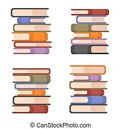 set., vettore, libri, accatastare, colorito