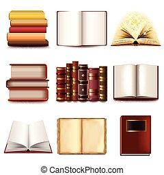 set, vettore, libri, icone