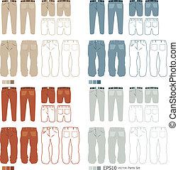 set, vettore, moda, pantaloni