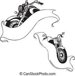 set., vettore, motociclette, ribbons.