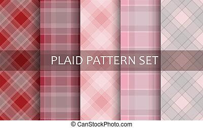 set., vettore, patterns., plaid