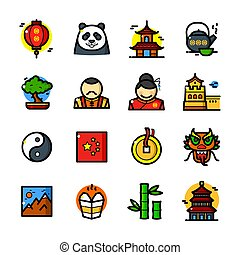 set, vettore, porcellana, illustrazione, icone