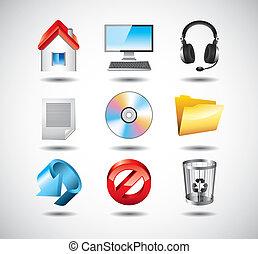 set, vettore, sistema computer, icone