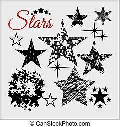 set., vettore, stelle, collezione
