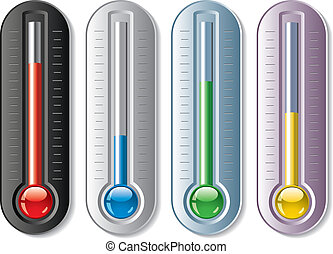 set, vettore, termometri