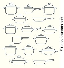 set, vettore, utensils., cucina
