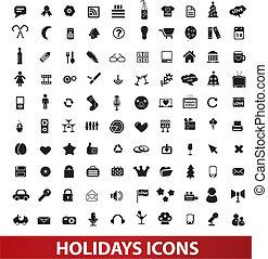 set, vettore, vacanze, icone