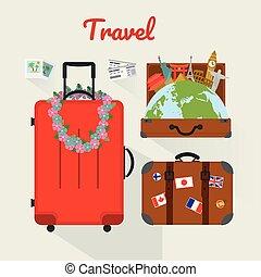 set., vettore, viaggiare, icona, illustration.