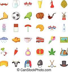 set, viaggiante, icone, stile, cartone animato