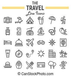set, viaggiare, collezione, simboli, linea, turismo, icona
