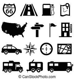 set, viaggio, strada, icona