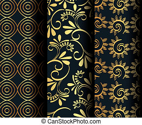 set victorian and floral golden backgrounds