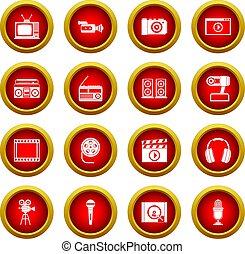 set, video, cirkel, audio, rood, pictogram