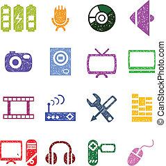 set, video, pictogram, audio