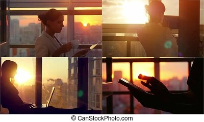 Set videos of beautiful young brunette business woman working on her laptop, tablet and smartphone. Heaven sunset glass background behind her. 4k