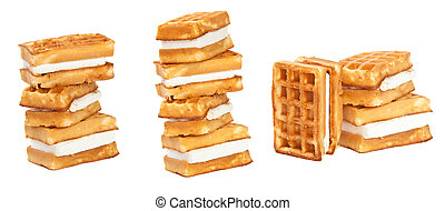 Set Viennese wafers on a white background