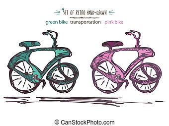 Set vintage bicycle vector illustration. Retro Hand-drawn bike in Ink brush sketch style isolated on white background