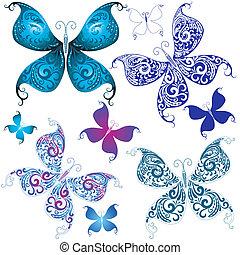 Set vintage butterflies