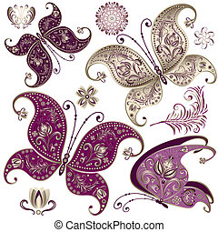 Set vintage butterflies - Set purple and gold vintage...
