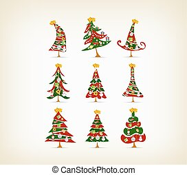 set vintage christmas tree