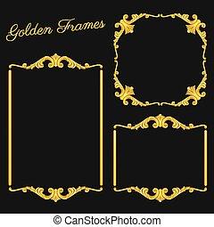 Set vintage gold frames on dark background