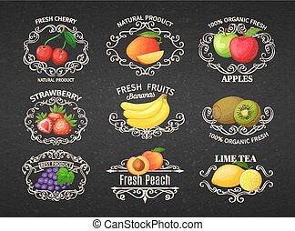 Set vintage label with fruits