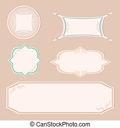 set vintage labels and ornament frames vector