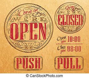 Set vintage open closed kraft - Set of vintage symbol ...