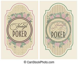 Set vintage poker label, vector