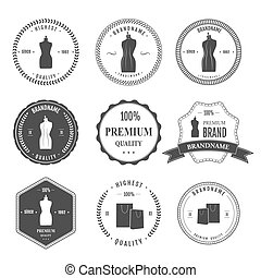 Set vintage retro mannequin shopping badges