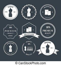 Set vintage retro mannequin shopping badges - Set vintage...