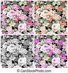 Set vintage rose on fabric for background.