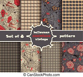 Set vintage seamless pattern for Halloween party. Vector ...