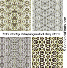 Set vintage shabby background with classy patterns