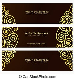 Set vintage vector abstract banner