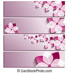 set, viola, fioritura, sakura, bandiere, orizzontale