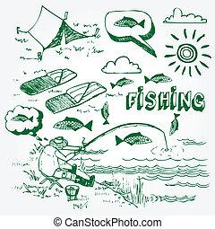 set, visserij, iconen